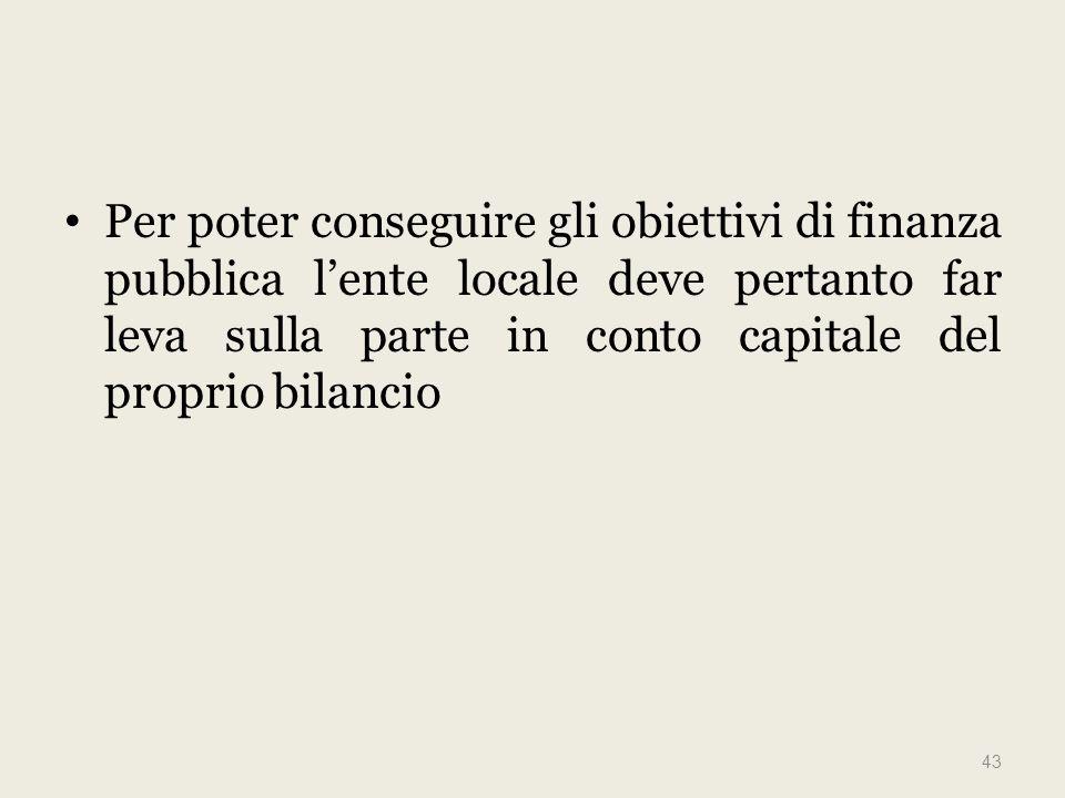 Per poter conseguire gli obiettivi di finanza pubblica lente locale deve pertanto far leva sulla parte in conto capitale del proprio bilancio 43