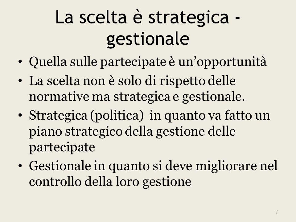 La scelta è strategica - gestionale Quella sulle partecipate è unopportunità La scelta non è solo di rispetto delle normative ma strategica e gestionale.