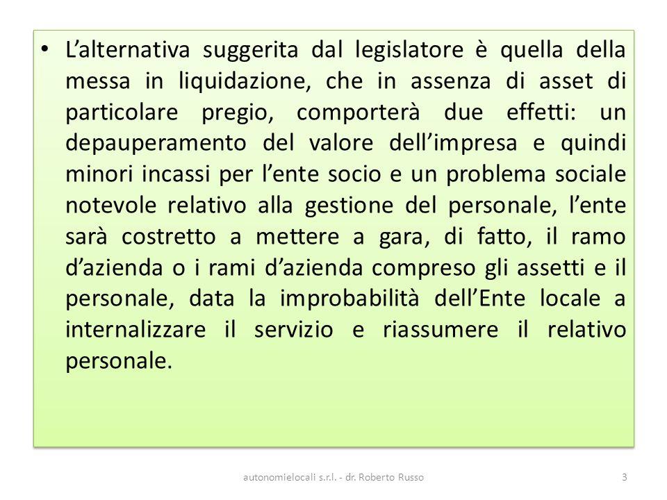 autonomielocali s.r.l.- dr. Roberto Russo54 Unelencazione di s.p.l.