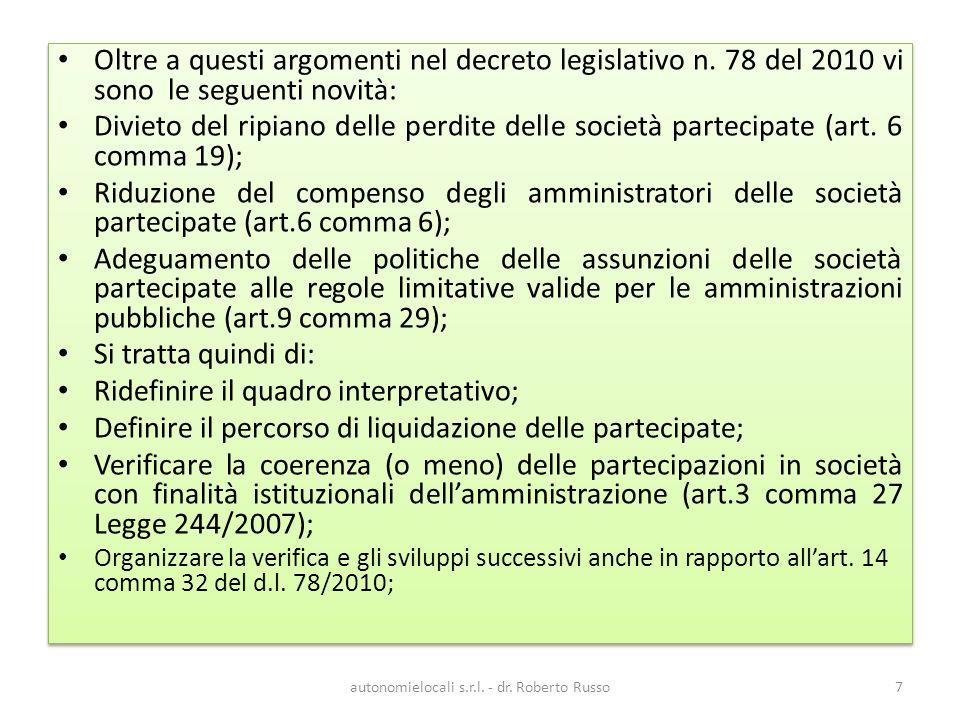 autonomielocali s.r.l.- dr. Roberto Russo58 sia notevole il ricorso ex D.