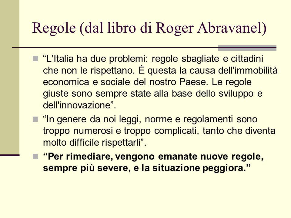 Regole (dal libro di Roger Abravanel) L'Italia ha due problemi: regole sbagliate e cittadini che non le rispettano. È questa la causa dell'immobilità