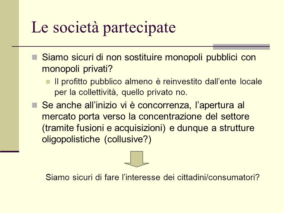 Le società partecipate Siamo sicuri di non sostituire monopoli pubblici con monopoli privati? Il profitto pubblico almeno è reinvestito dallente local