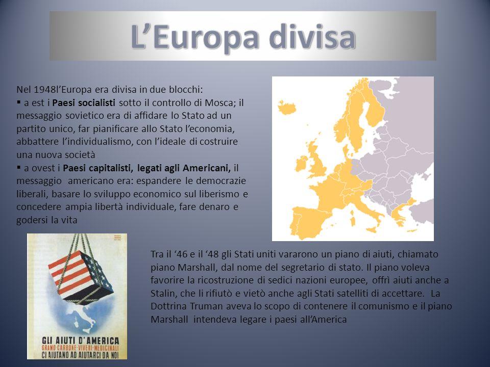 Nel 1948lEuropa era divisa in due blocchi: a est i Paesi socialisti sotto il controllo di Mosca; il messaggio sovietico era di affidare lo Stato ad un