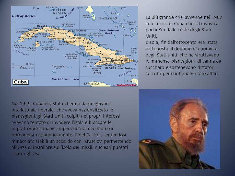 La più grande crisi avvenne nel 1962 con la crisi di Cuba che si trovava a pochi Km dalle coste degli Stati Uniti. Lisola, fin dallottocento era stata