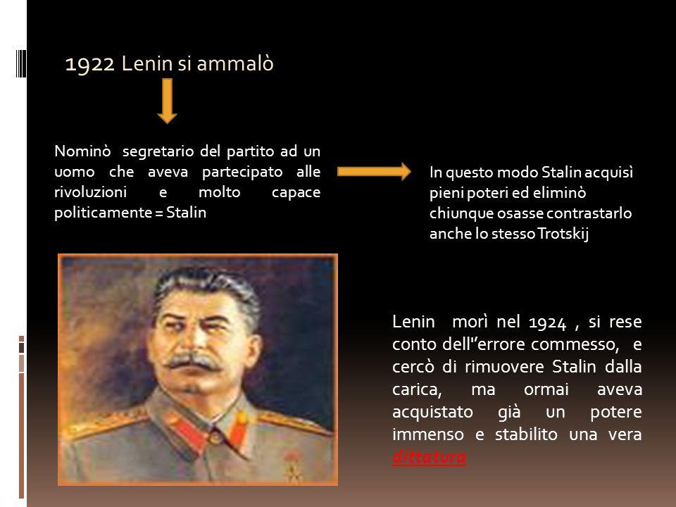 1922 Lenin si ammalò Nominò segretario del partito ad un uomo che aveva partecipato alle rivoluzioni e molto capace politicamente = Stalin In questo m