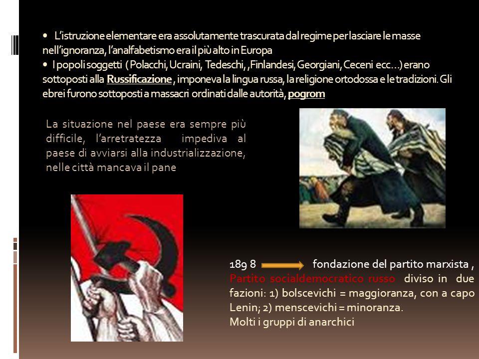 Listruzione elementare era assolutamente trascurata dal regime per lasciare le masse nellignoranza, lanalfabetismo era il più alto in Europa I popoli