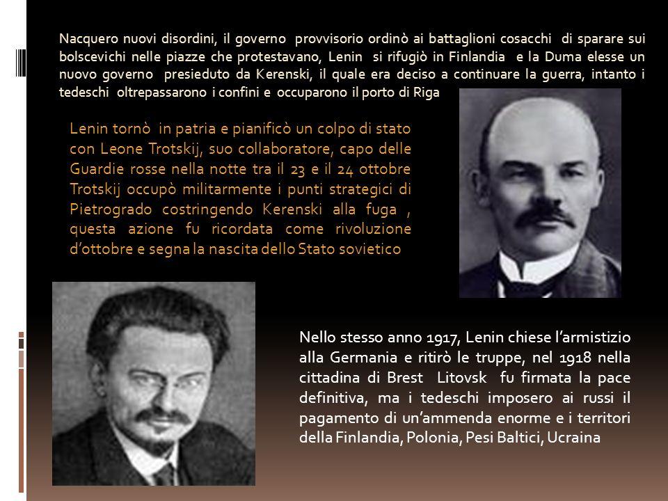 Nacquero nuovi disordini, il governo provvisorio ordinò ai battaglioni cosacchi di sparare sui bolscevichi nelle piazze che protestavano, Lenin si rif