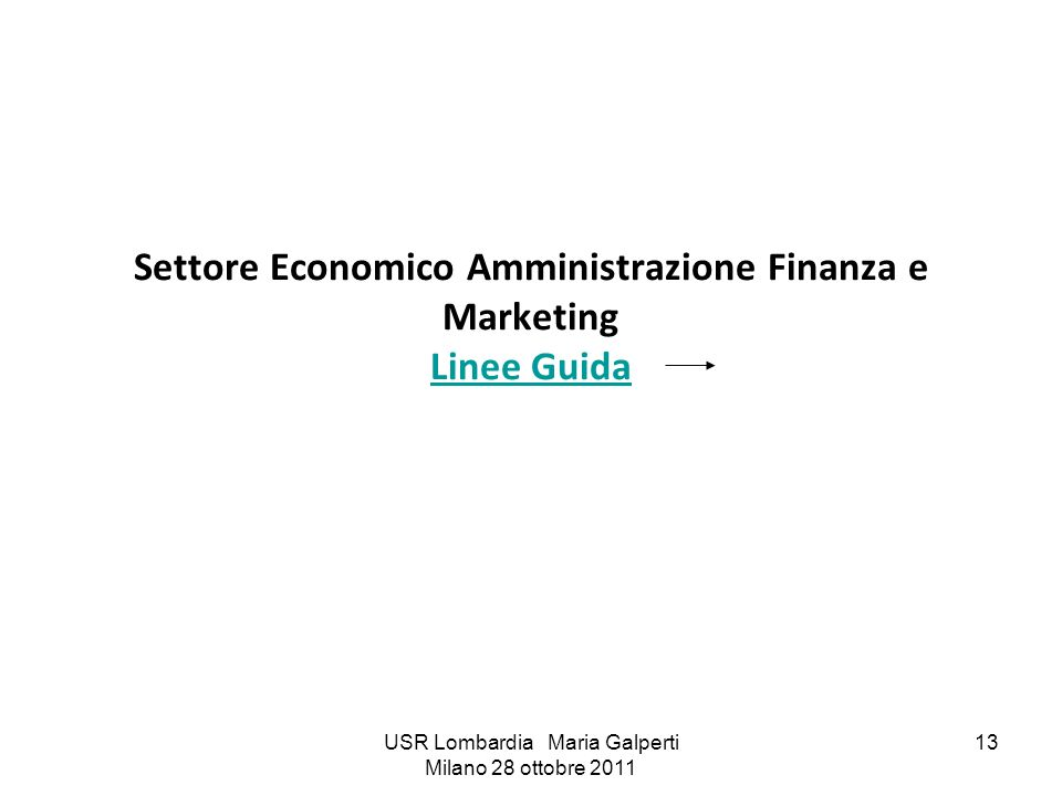 USR Lombardia Maria Galperti Milano 28 ottobre 2011 13 Settore Economico Amministrazione Finanza e Marketing Linee Guida Linee Guida
