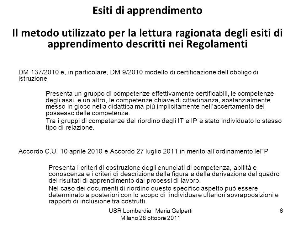 USR Lombardia Maria Galperti Milano 28 ottobre 2011 6 Esiti di apprendimento Il metodo utilizzato per la lettura ragionata degli esiti di apprendiment