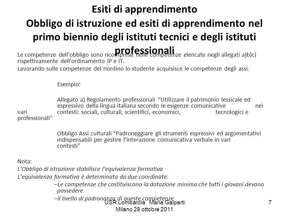 USR Lombardia Maria Galperti Milano 28 ottobre 2011 7 Esiti di apprendimento Obbligo di istruzione ed esiti di apprendimento nel primo biennio degli i