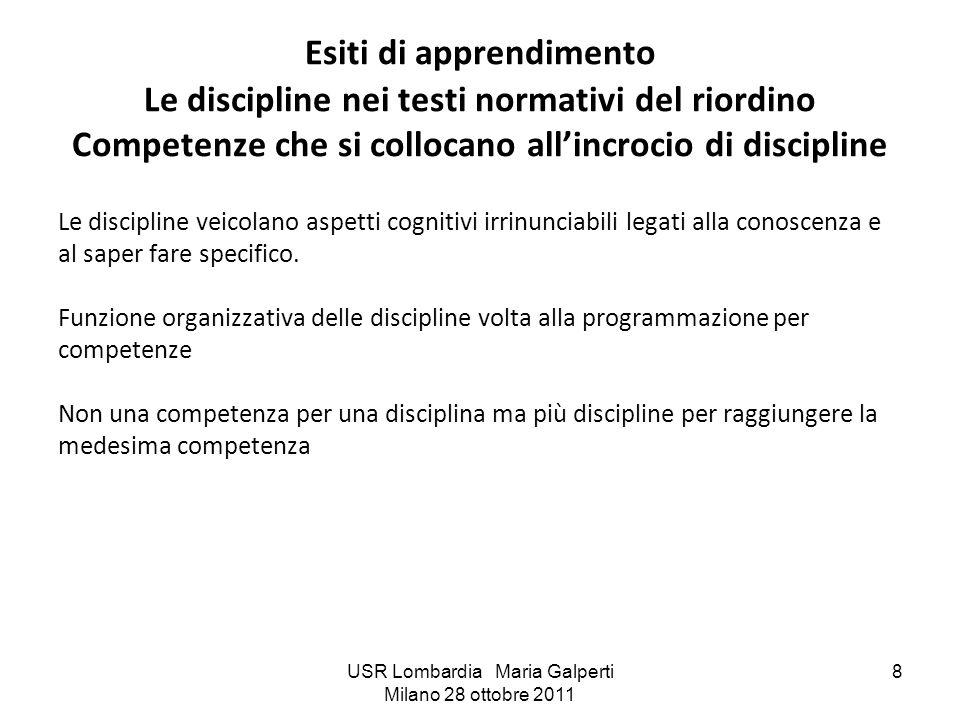 USR Lombardia Maria Galperti Milano 28 ottobre 2011 8 Esiti di apprendimento Le discipline nei testi normativi del riordino Competenze che si collocan