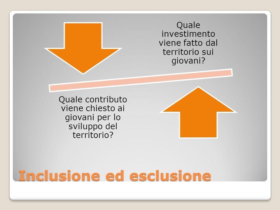 Inclusione ed esclusione Quale investimento viene fatto dal territorio sui giovani.