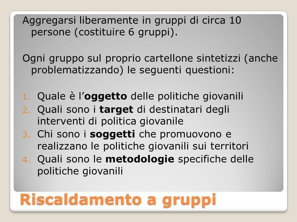 Riscaldamento a gruppi Aggregarsi liberamente in gruppi di circa 10 persone (costituire 6 gruppi).