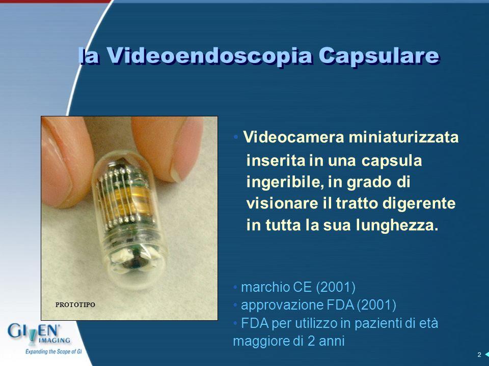 2 Videocamera miniaturizzata inserita in una capsula ingeribile, in grado di visionare il tratto digerente in tutta la sua lunghezza.
