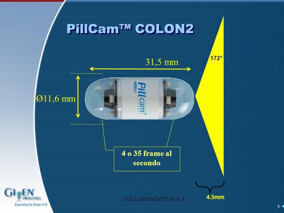 M.G.LORENZATTO S.p.A. 9 PillCam COLON2 Ø11,6 mm 31,5 mm 4.5mm 172° 4 o 35 frame al secondo