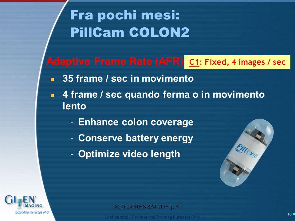 M.G.LORENZATTO S.p.A. 10 Adaptive Frame Rate (AFR) 35 frame / sec in movimento 4 frame / sec quando ferma o in movimento lento – Enhance colon coverag