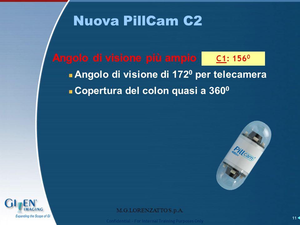 M.G.LORENZATTO S.p.A. 11 Angolo di visione più ampio Angolo di visione di 172 0 per telecamera Copertura del colon quasi a 360 0 Nuova PillCam C2 C1: