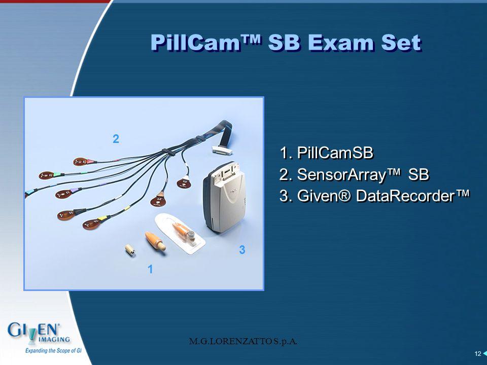 M.G.LORENZATTO S.p.A. 12 1. PillCamSB 2. SensorArray SB 3. Given® DataRecorder 1. PillCamSB 2. SensorArray SB 3. Given® DataRecorder PillCam SB Exam S