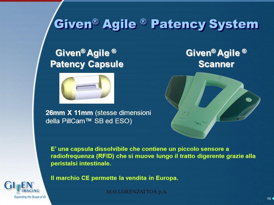 M.G.LORENZATTO S.p.A. 19 Given ® Agile ® Patency System Given ® Agile ® Patency Capsule Given ® Agile ® Scanner 26mm X 11mm (stesse dimensioni della P