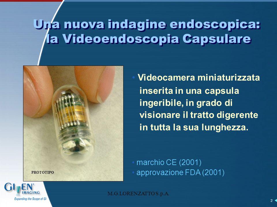 M.G.LORENZATTO S.p.A. 2 Videocamera miniaturizzata inserita in una capsula ingeribile, in grado di visionare il tratto digerente in tutta la sua lungh
