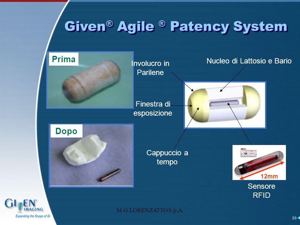 M.G.LORENZATTO S.p.A. 20 Prima Dopo Cappuccio a tempo Nucleo di Lattosio e Bario Sensore RFID Finestra di esposizione Involucro in Parilene 12mm Given