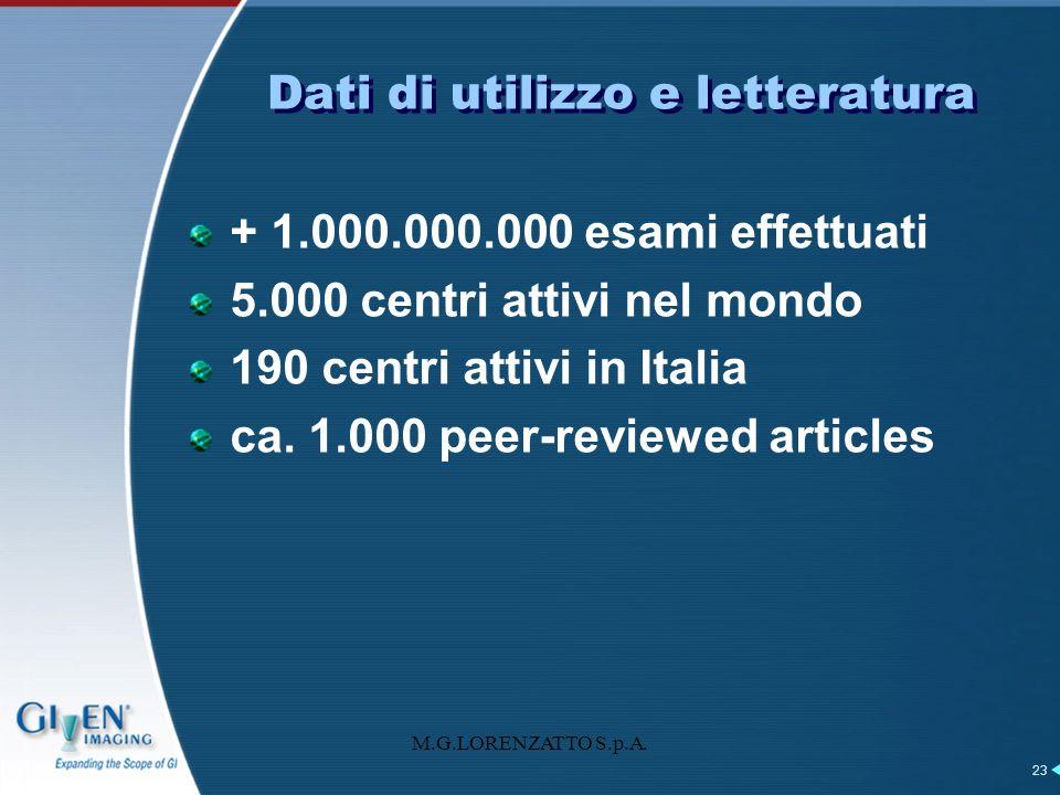 Dati di utilizzo e letteratura + 1.000.000.000 esami effettuati 5.000 centri attivi nel mondo 190 centri attivi in Italia ca. 1.000 peer-reviewed arti