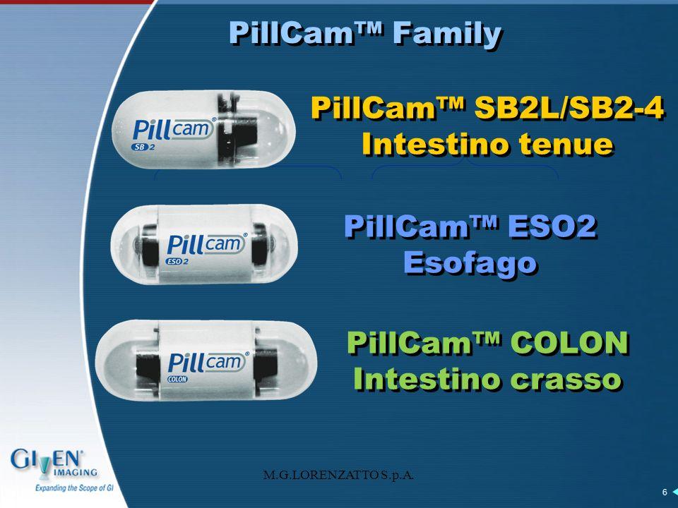 M.G.LORENZATTO S.p.A. 6 PillCam Family PillCam SB2L/SB2-4 Intestino tenue PillCam ESO2 Esofago PillCam COLON Intestino crasso