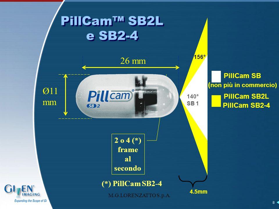 M.G.LORENZATTO S.p.A. 8 PillCam SB2L e SB2-4 Ø11 mm 26 mm 2 o 4 (*) frame al secondo (*) PillCam SB2-4 4.5mm 140° 156° PillCam SB ( non più in commerc