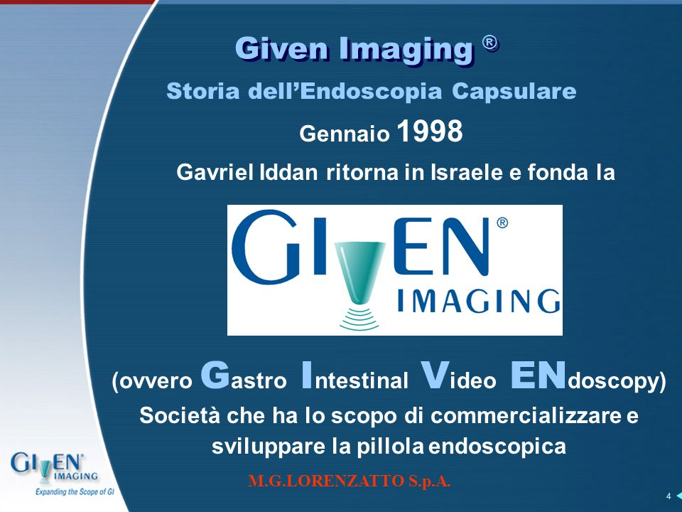 M.G.LORENZATTO S.p.A. 4 Given Imaging ® Gavriel Iddan ritorna in Israele e fonda la (ovvero G astro I ntestinal V ideo EN doscopy) Società che ha lo s