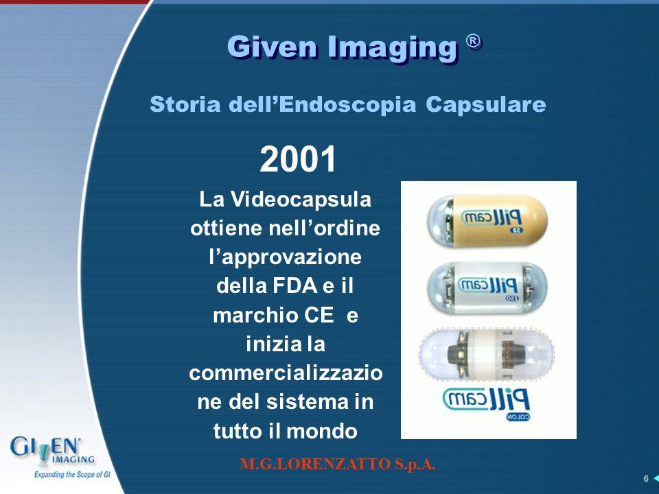M.G.LORENZATTO S.p.A. 6 Given Imaging ® 2001 La Videocapsula ottiene nellordine lapprovazione della FDA e il marchio CE e inizia la commercializzazio