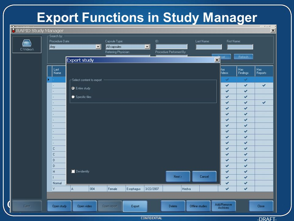 -DRAFT- Export Functions in Study Manager