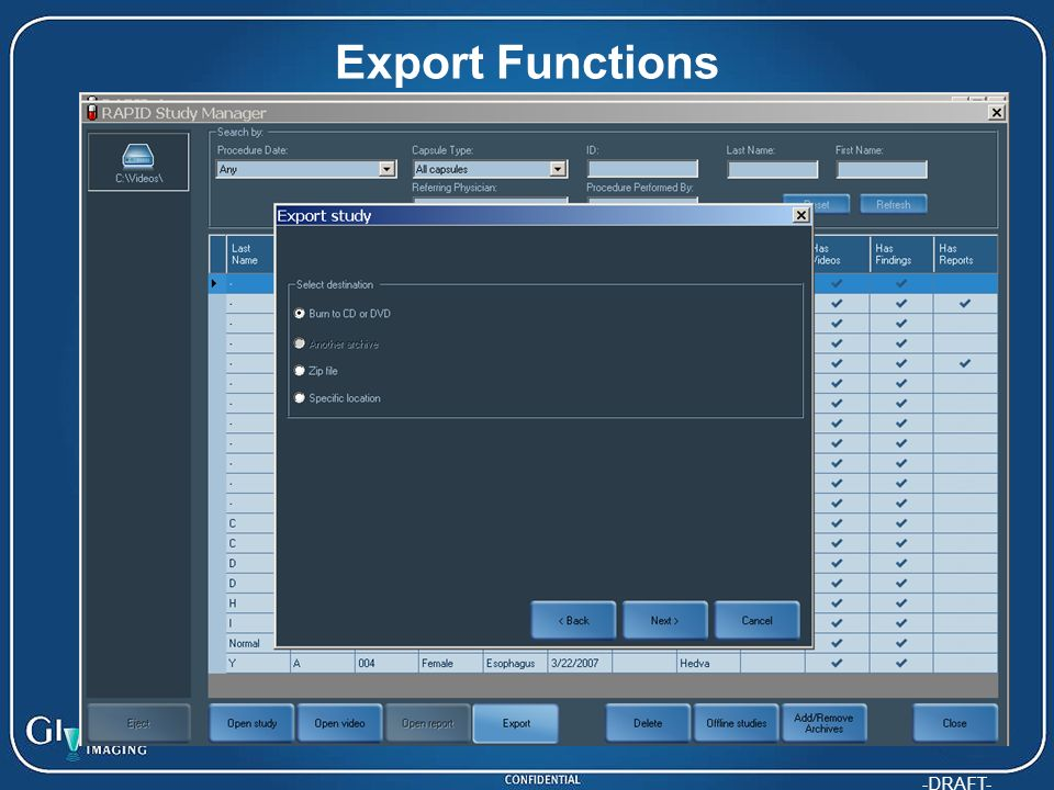 -DRAFT- Export Functions