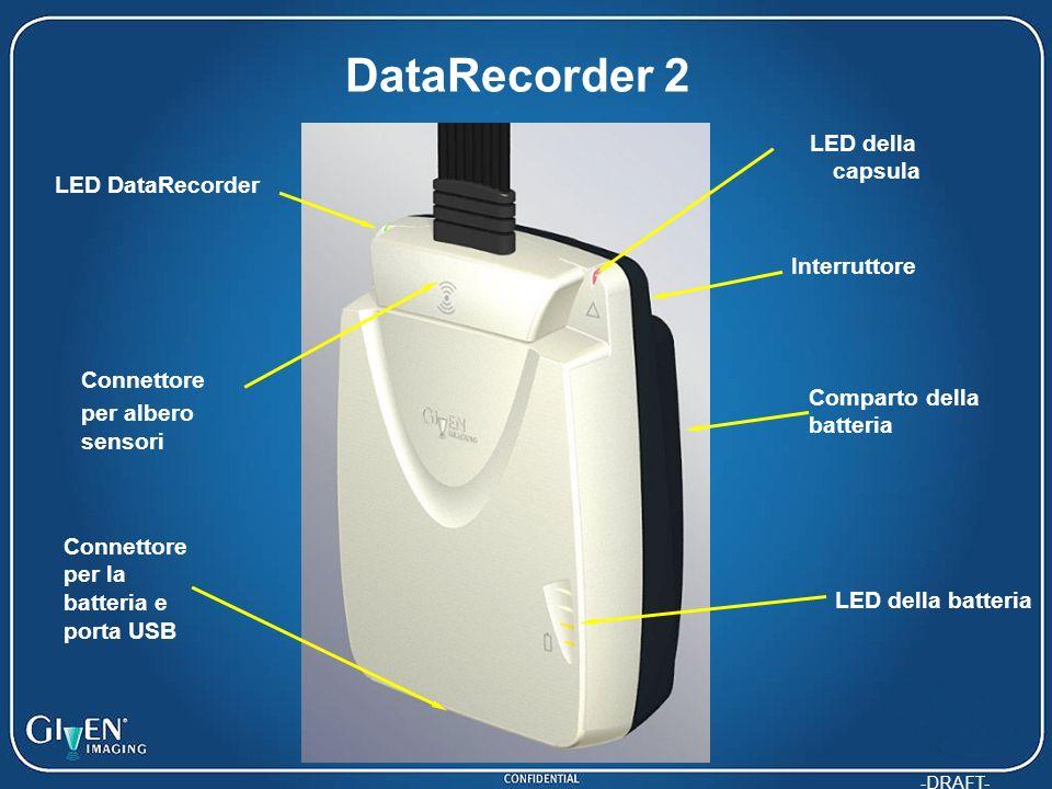 -DRAFT- DataRecorder 2 LED della capsula Connettore per albero sensori Interruttore Connettore per la batteria e porta USB LED della batteria LED DataRecorder Comparto della batteria
