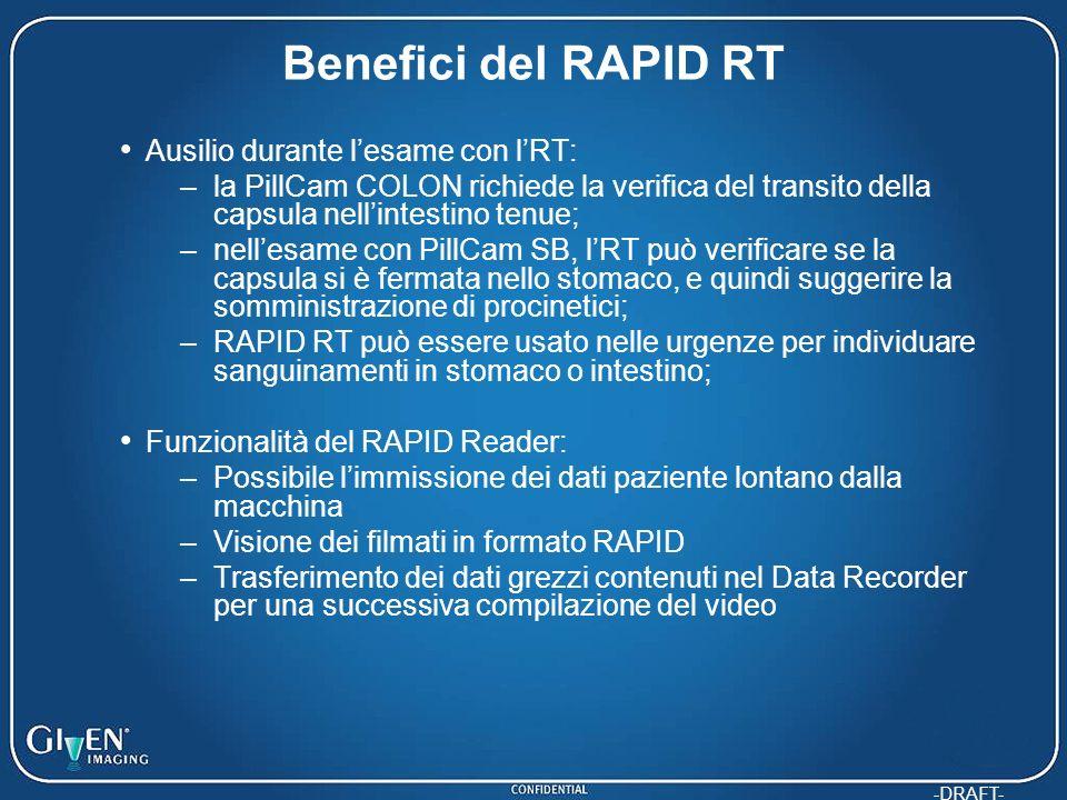 -DRAFT- Benefici del RAPID RT Ausilio durante lesame con lRT: –la PillCam COLON richiede la verifica del transito della capsula nellintestino tenue; –