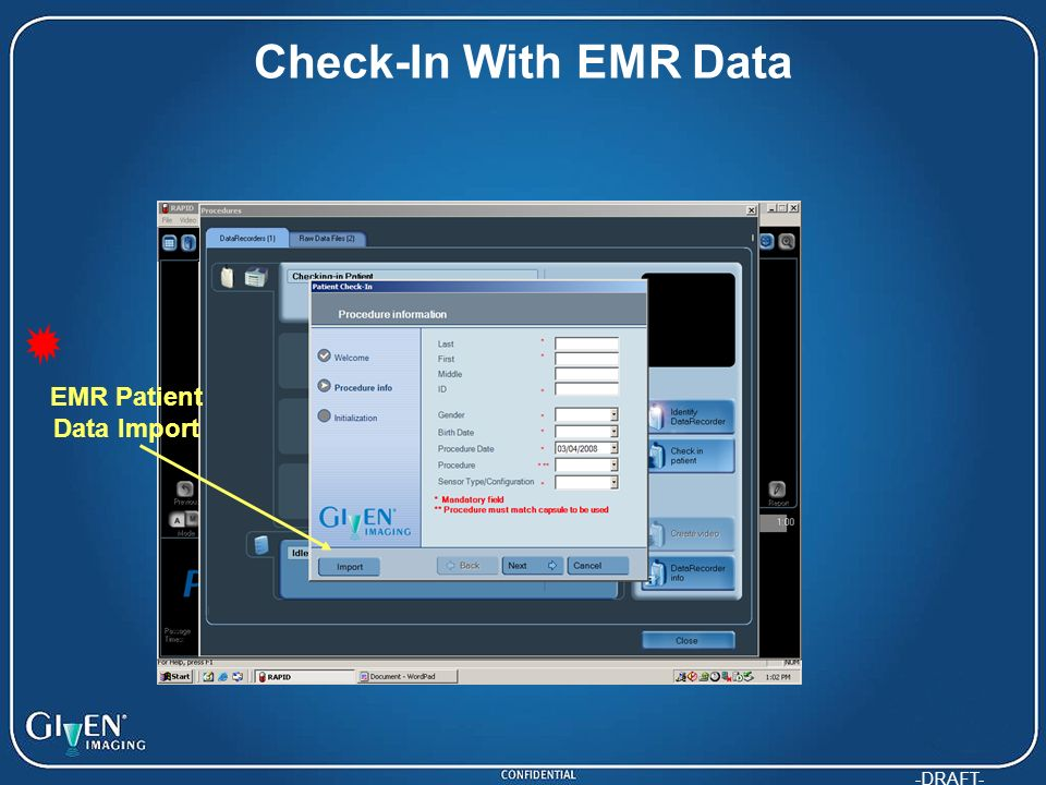-DRAFT- Check-In With EMR Data EMR Patient Data Import