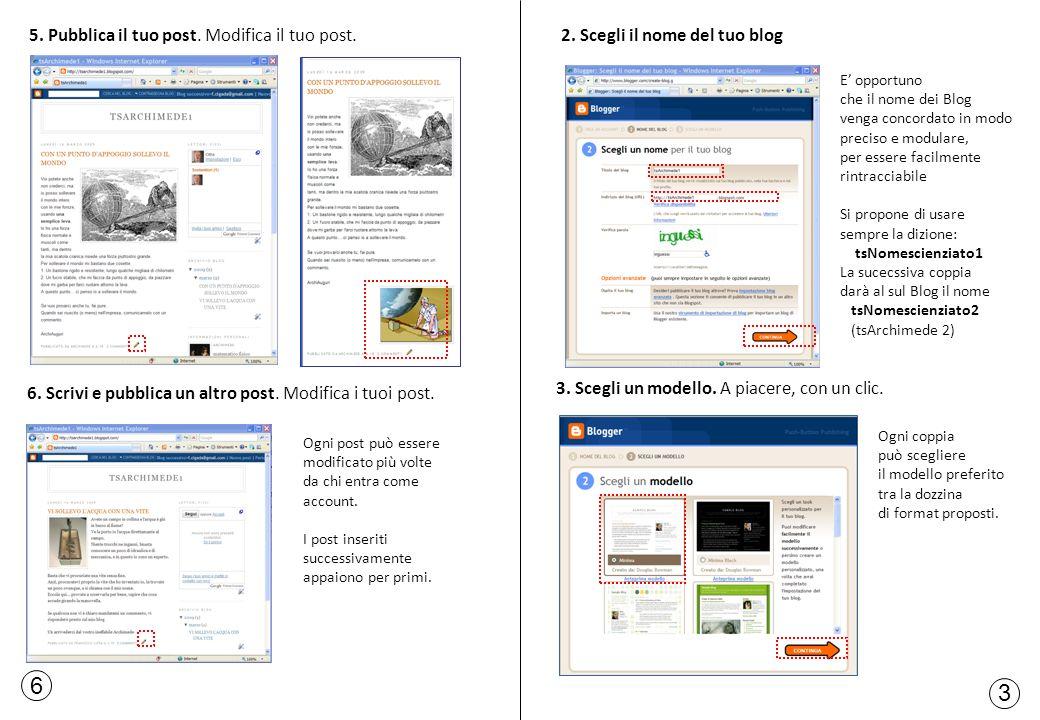 6 3 2. Scegli il nome del tuo blog 3. Scegli un modello. A piacere, con un clic. E opportuno che il nome dei Blog venga concordato in modo preciso e m