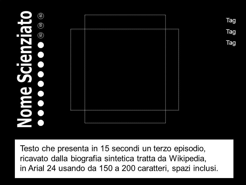 Tag Tag Tag Testo che presenta il secondo episodio della sua vita, ricavato dalla biografia sintetica tratta da Wikipedia, in Arial 24 usando da 150 a 200 caratteri, spazi inclusi.