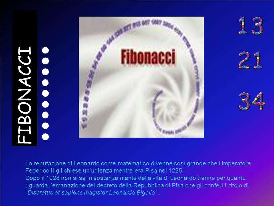 5 10 15 20 25 30 35 40 45 50 55 60 Intorno al 1200, Fibonacci tornò a Pisa dove per i seguenti 25 anni lavorò alle sue personali composizioni matemati