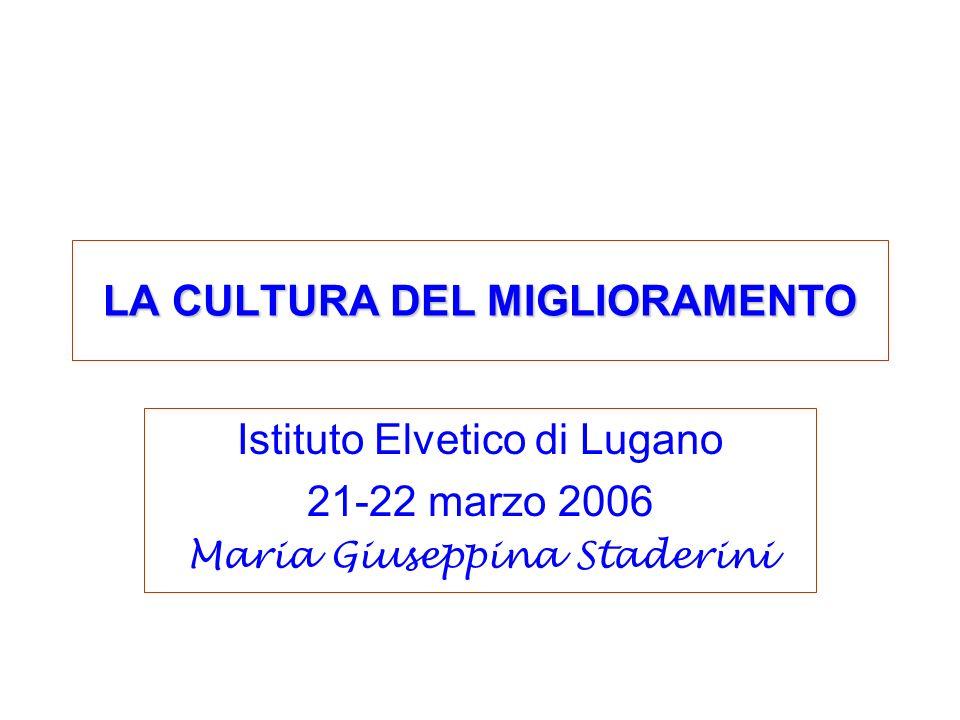 LA CULTURA DEL MIGLIORAMENTO Istituto Elvetico di Lugano 21-22 marzo 2006 Maria Giuseppina Staderini