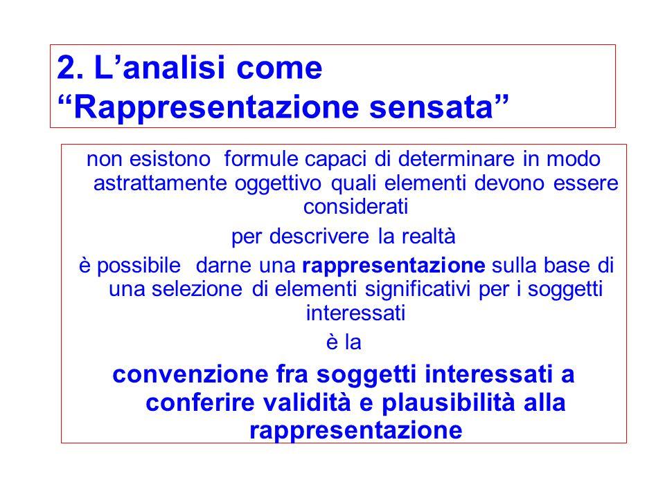 2. Lanalisi come Rappresentazione sensata non esistono formule capaci di determinare in modo astrattamente oggettivo quali elementi devono essere cons