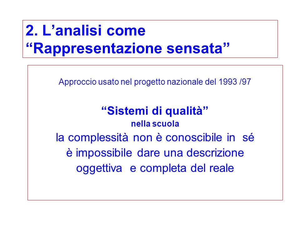 2. Lanalisi come Rappresentazione sensata Approccio usato nel progetto nazionale del 1993 /97 Sistemi di qualità nella scuola la complessità non è con