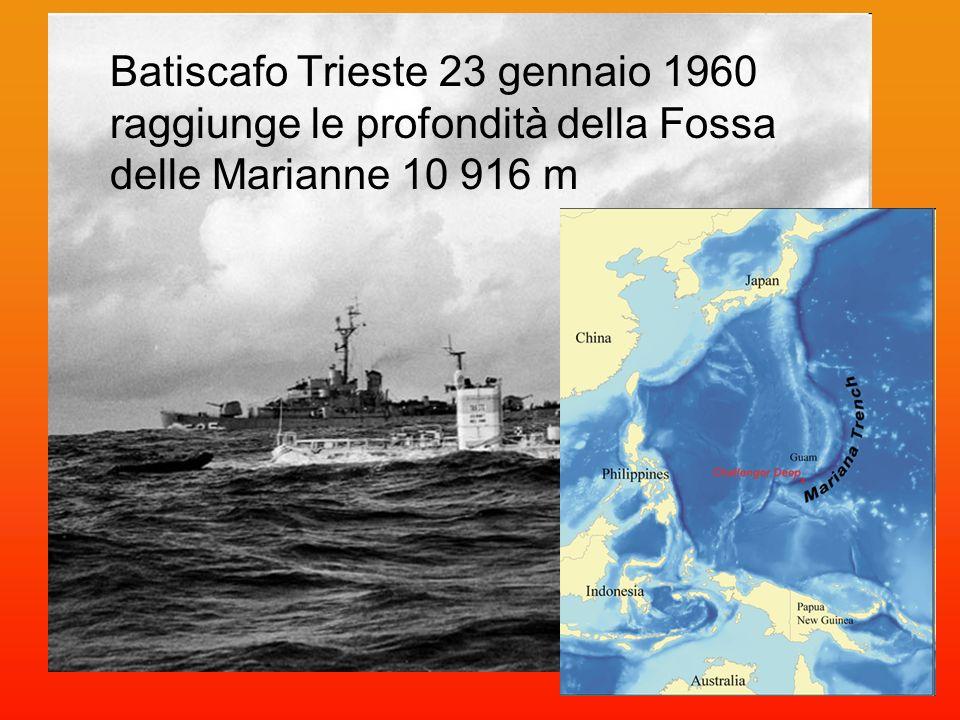 Batiscafo Trieste 23 gennaio 1960 raggiunge le profondità della Fossa delle Marianne 10 916 m