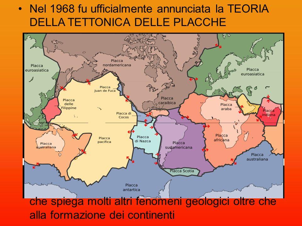 Nel 1968 fu ufficialmente annunciata la TEORIA DELLA TETTONICA DELLE PLACCHE che spiega molti altri fenomeni geologici oltre che alla formazione dei c