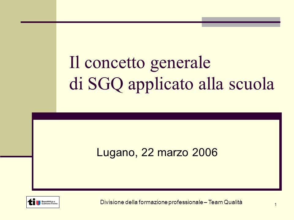 1 Il concetto generale di SGQ applicato alla scuola Lugano, 22 marzo 2006 Divisione della formazione professionale – Team Qualità
