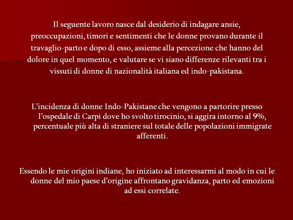 DEPRESSIONE TEST DI MANN WHITNEY: non si evidenzia una differenzia significativa nel periparto, tra italiane ed indo-pakistane.