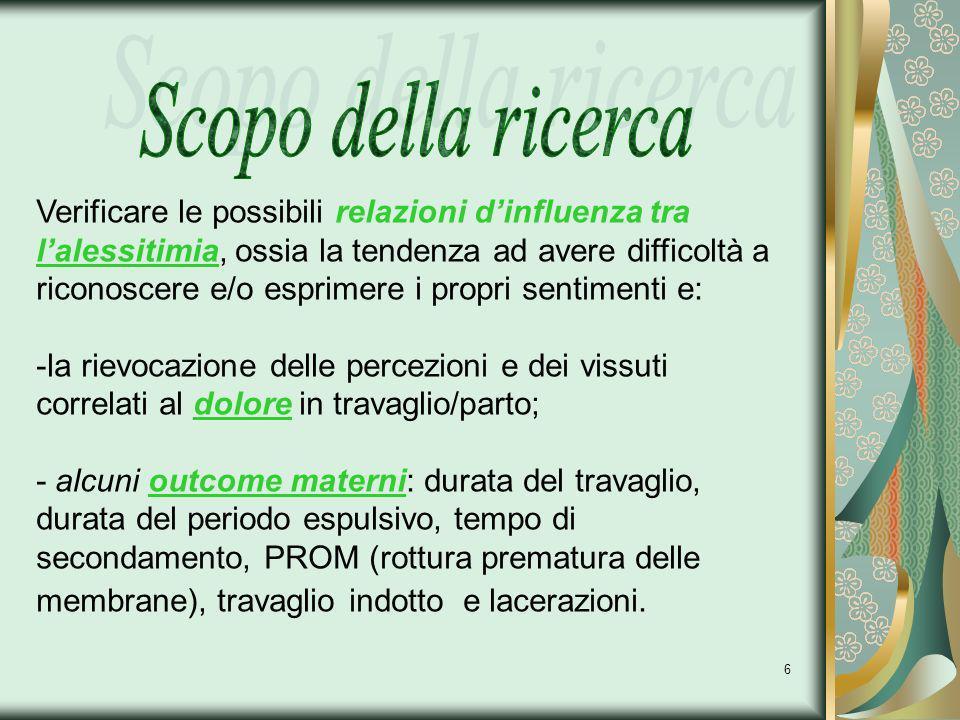 7 nazionalità italiana; previsione di un parto spontaneo per via vaginale; EG >=37a settimana sottoscrizione di un consenso informato e compilazione dei questionari proposti