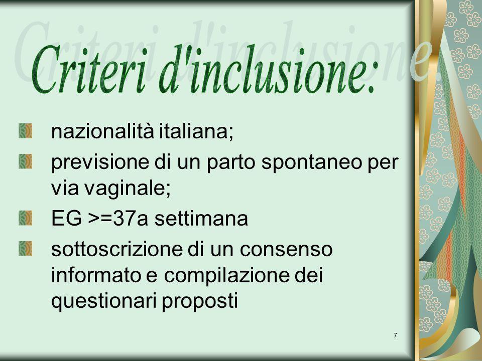 7 nazionalità italiana; previsione di un parto spontaneo per via vaginale; EG >=37a settimana sottoscrizione di un consenso informato e compilazione d