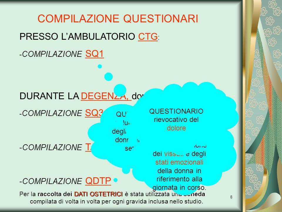8 COMPILAZIONE QUESTIONARI PRESSO LAMBULATORIO CTG : - COMPILAZIONE SQ1 DURANTE LA DEGENZA, dopo il parto : - COMPILAZIONE SQ3 -COMPILAZIONE TAS-20 -C