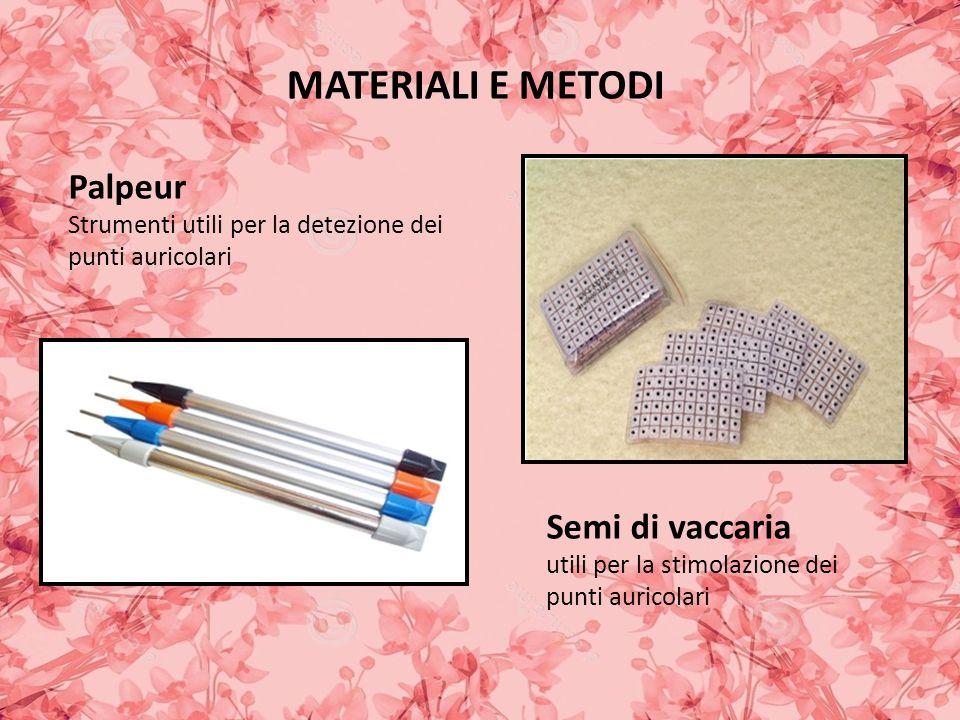 MATERIALI E METODI Palpeur Strumenti utili per la detezione dei punti auricolari Semi di vaccaria utili per la stimolazione dei punti auricolari