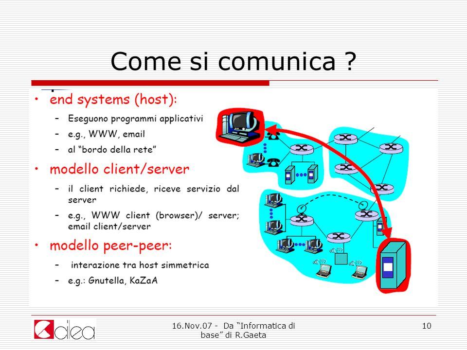 16.Nov.07 - Da Informatica di base di R.Gaeta 10 Come si comunica